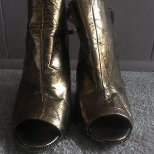 "L.A.M.B. Metallic Leather ""Ward"" Peep Toe Booties"